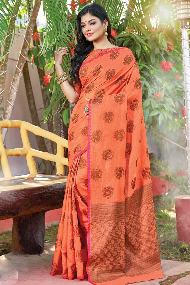 Cotton Handloom Saree in Peach