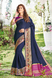 Khadi Art Silk Zari  Saree in Navy Blue
