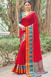 Handloom Silk Saree in Red