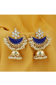 Women's Alloy Chandbali Earrings in Blue