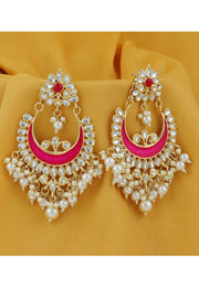 Women's Alloy Large Dangle Earring in Pink
