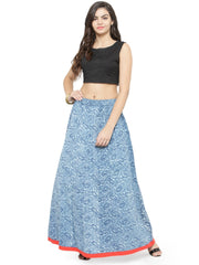 Cotton Skirt in Blue