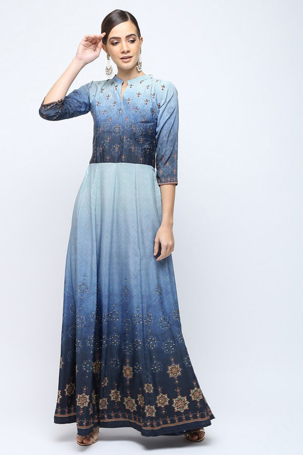 Silaai Women's Crepe Anarkali Kurta in Blue