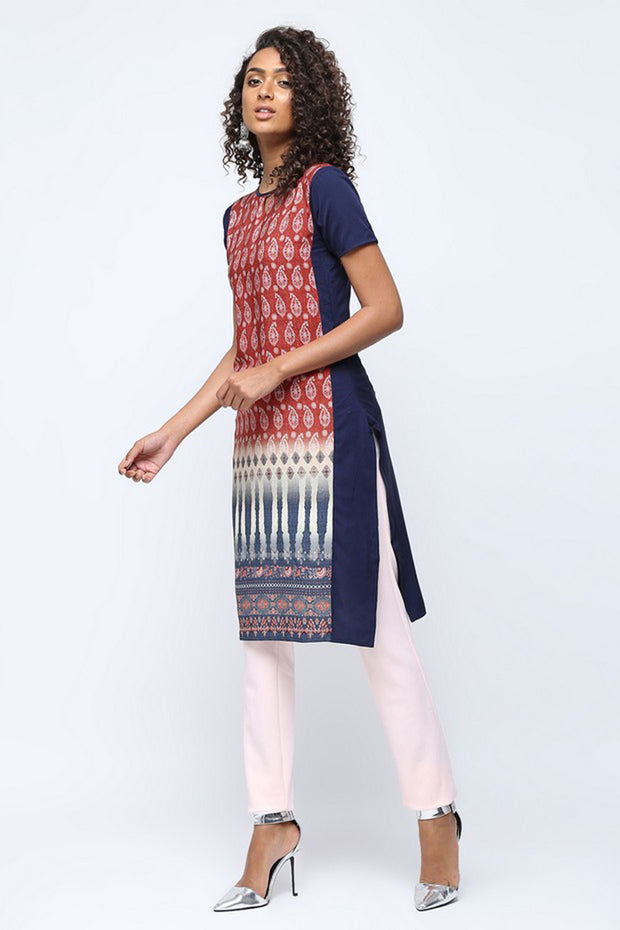 Silaai Women's Crepe A-line Kurta in Red