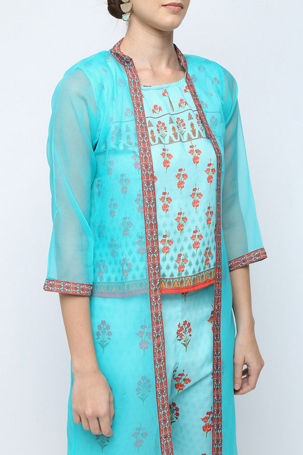 Silaai Women's Silk Palazzo Set with Jacket in Light Blue
