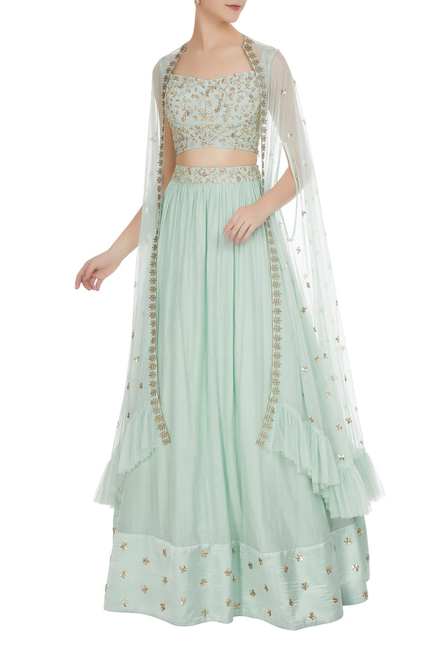 Crepe Lehenga Set in Blue