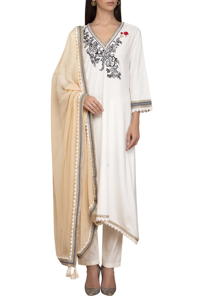 Khadi Kurta Set in Off White