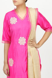 Art Silk Embroidered Suit Set in Pink