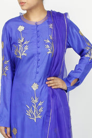 Art Silk Printed Suit Set in Blue