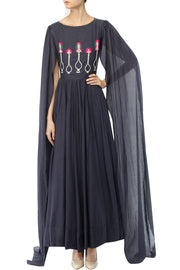 Art Silk Embroidered Kurta Set in Black