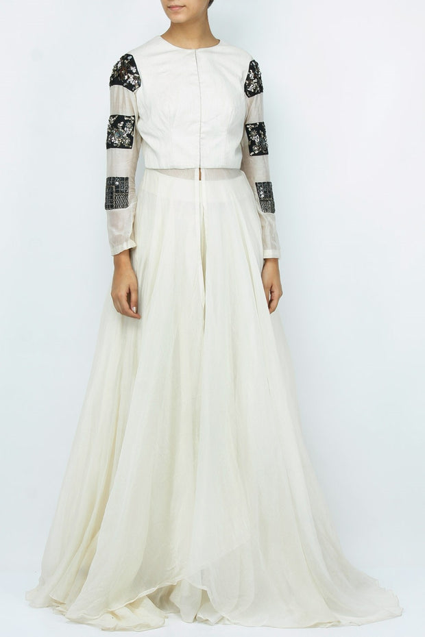 Art Silk Embroidered Kurta Set in White