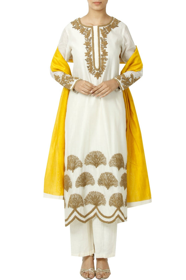 Art Silk Embroidered Suit Set in White