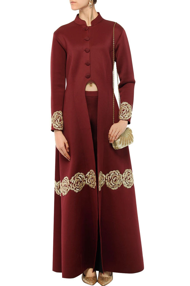 Art Silk Embroidered Kurta Set in Maroon