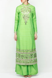 Art Silk Embroidered Kurta Set in Green