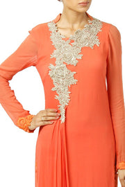 Faux Georgette Embroidered Kurta Set in Orange