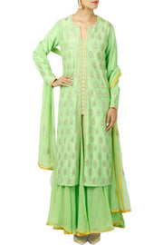 Art Silk Embroidered Suit Set in Green