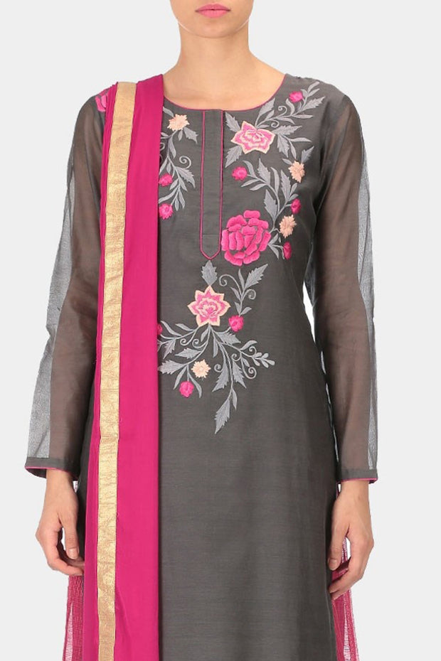 Art Silk Embroidered Suit Set in Grey