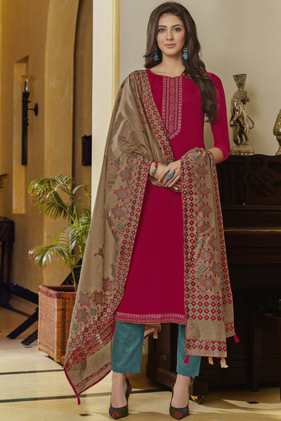 Art Silk Embroidered Dress Material in Rani Pink