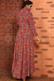 Rayon Printed Kurti in Brown