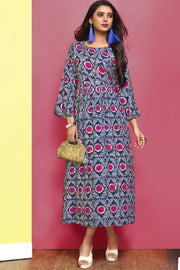 Rayon Printed Kurti in Yellow
