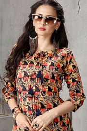 Rayon Printed Kurti in Cream