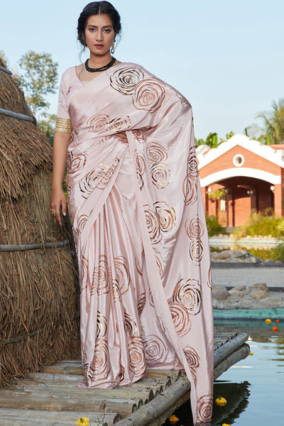Buy Banarasi Art Silk Printed Saree In Baby Pink