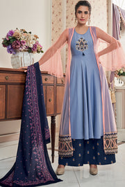 Net Embroidered Salwar Suit in Light Purple