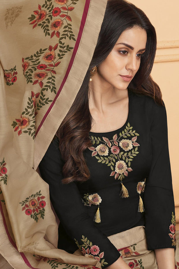 Art Silk Embroidered Salwar Kameez in Black