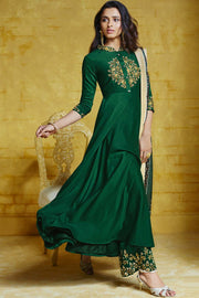 Art Silk Embroidered Salwar Kameez in Dark Green