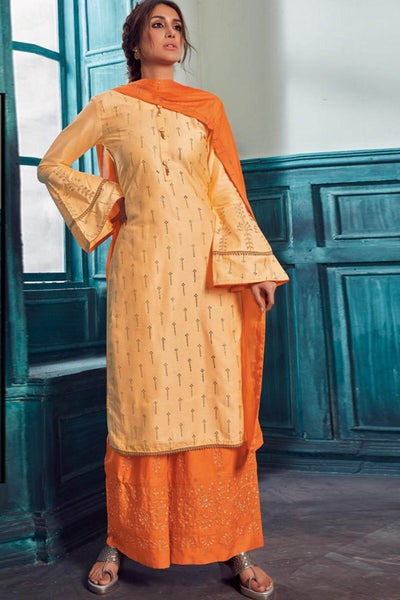 Satin Embroidered Dress Material in Light Orange