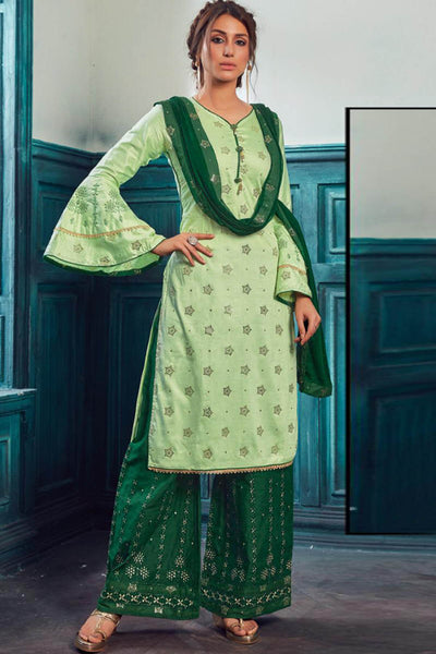 Satin Embroidered Dress Material in Light Green