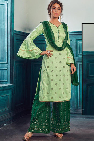Satin Embroidered Salwar Suit in Green