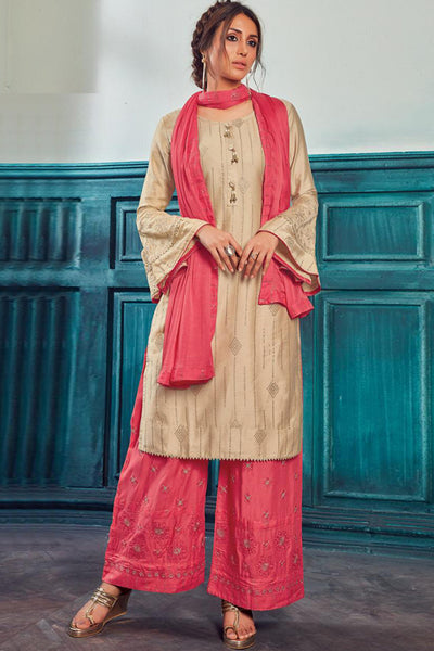 Satin Embroidered Salwar Suit in Beige