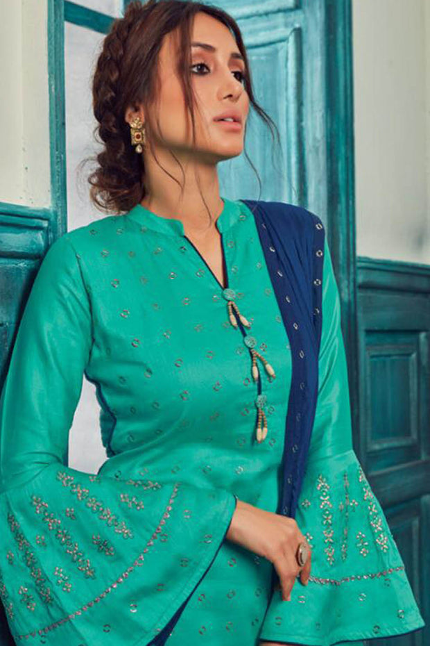 Satin Embroidered Dress Material in Turquoise