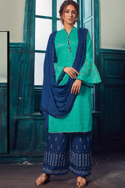 Satin Embroidered Salwar Suit in Blue