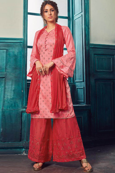 Satin Embroidered Dress Material in Pink