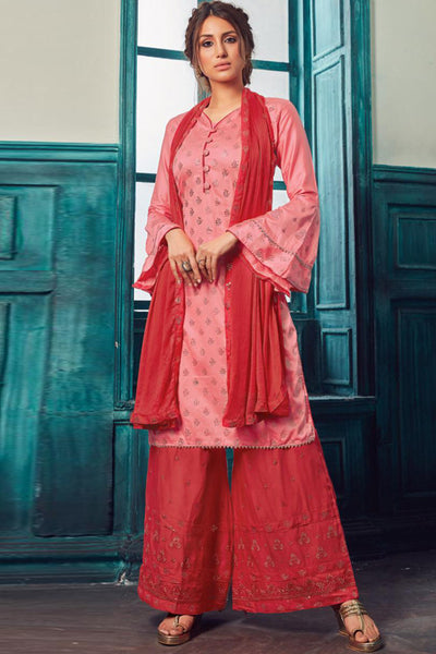 Satin Embroidered Salwar Suit in Pink