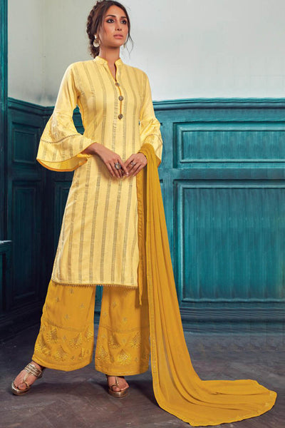Satin Embroidered Dress Material in Light Yellow