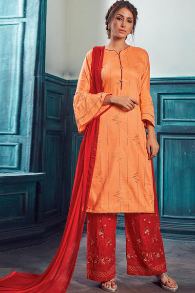 Satin Embroidered Salwar Suit in Orange