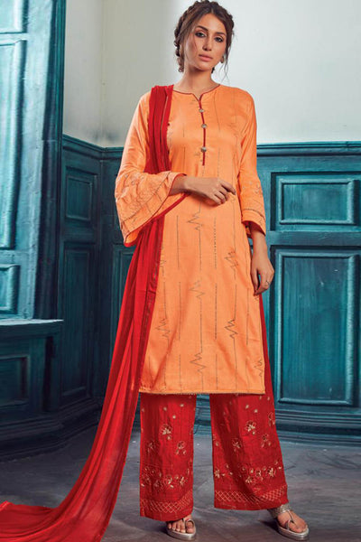 Satin Embroidered Dress Material in Orange