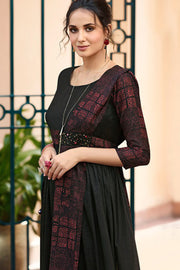 Rayon Printed Kurti in Black