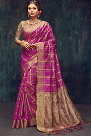 Art Silk Woven Saree in Pink