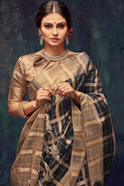 Art Silk Woven Saree in Black
