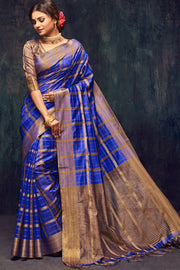 Art Silk Woven Saree in Blue