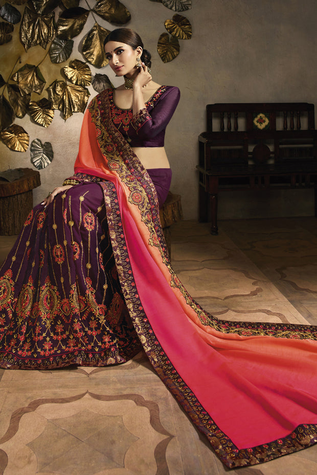 Art Silk Embroidered Saree in Orange and Purple