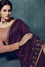 Art Silk Embroidered Saree in Dark Wine