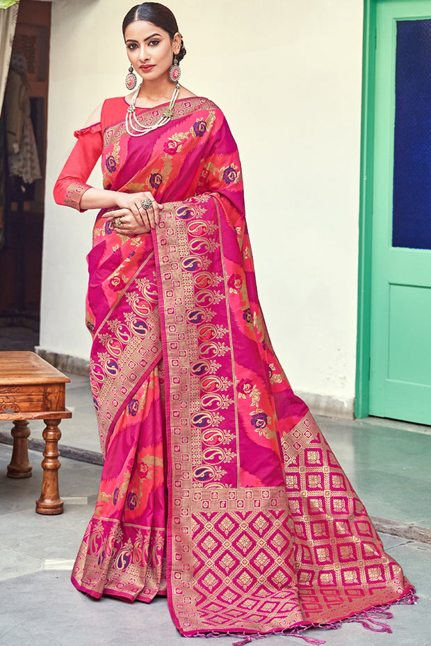 Art Silk Woven Saree in Rani Pink