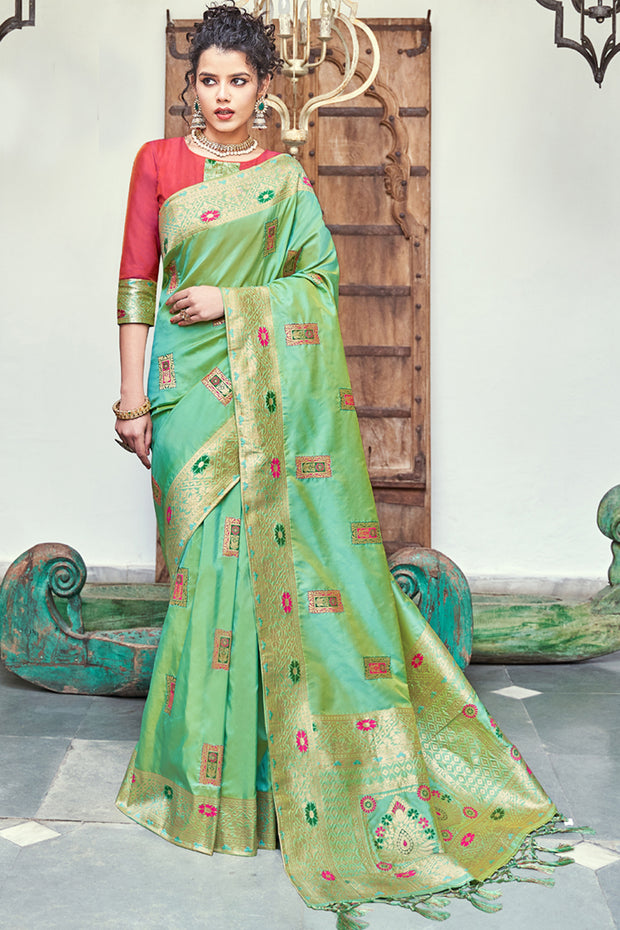 Art Silk Woven Saree in Parrot Green