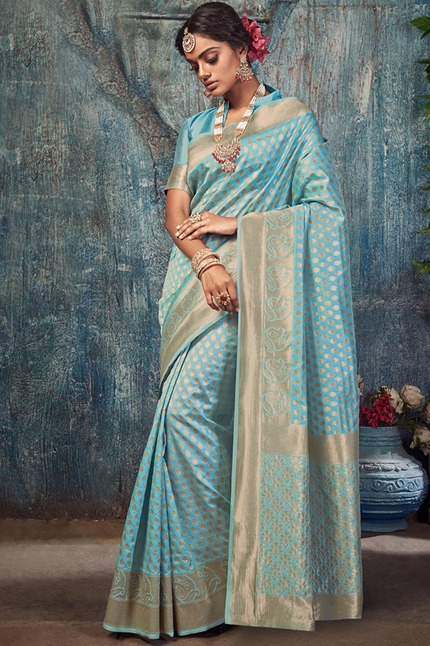 Art Silk Woven Saree in Sky Blue