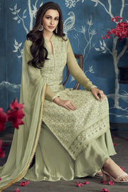 Faux Georgette Embroidered Salwar Kameez in Sea Green